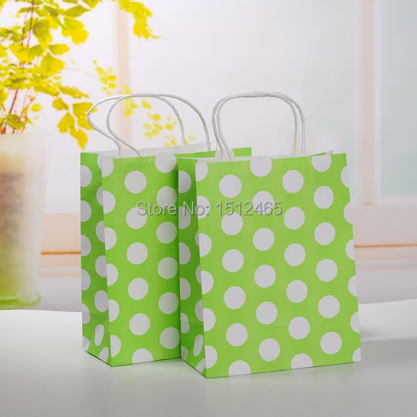 Free shipping,10pcs/lot Light Green Polka Dot Pattern Kraft paper bag with handle Party Wedding Paper Bags 27*21*11cm STD04-12(China (Mainland))