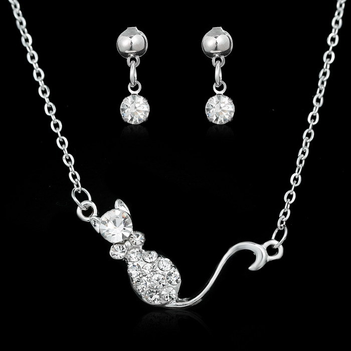 Vintage Style Earrings Pendant Necklace Set Women Trendy white Gold Plated Rhinestone Animal Wedding Engagement Jewelry Sets(China (Mainland))