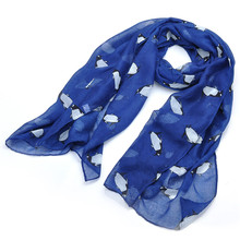 Lureme Fashion Lovely Girl Clothing Accessories Sweety Colorful Penguins Printing Long Voile Scarf for Women Foulard