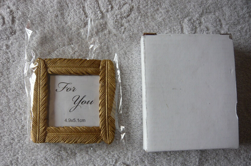 FREE SHIPPING+Bridal Shower Favors and Gift Gold Feather Picture Frame Place Card/Photo Holder Golden Wedding Favors+50pcs/Lot