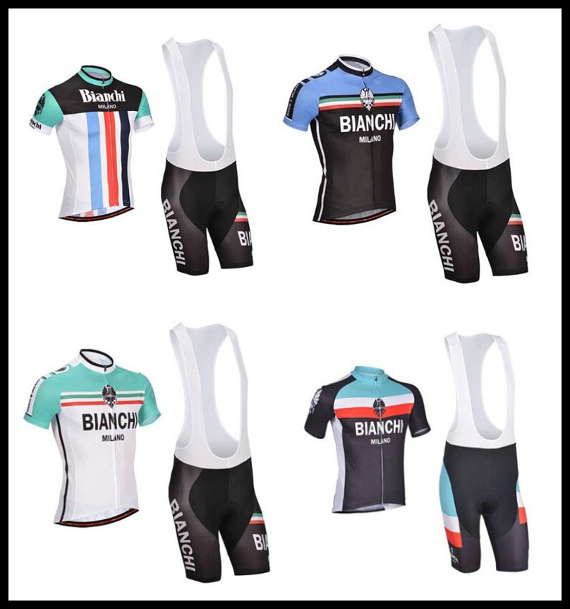 wholesale 4 styles Bianchi team Men's Bike Suits/Cycling Jersey Shorts/summer outdoor Bicycle Short Sleeve Clothing BIB sets(China (Mainland))