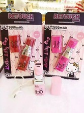 6pcs portable Hello Kitty Lipstick power bank 2600mAh external battery pack mobile phone charger Universal for iPhone Samsung
