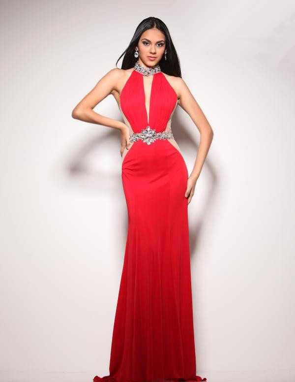 New Arrival 2015 Free Shipping Women Red Crystal Chiffon ...