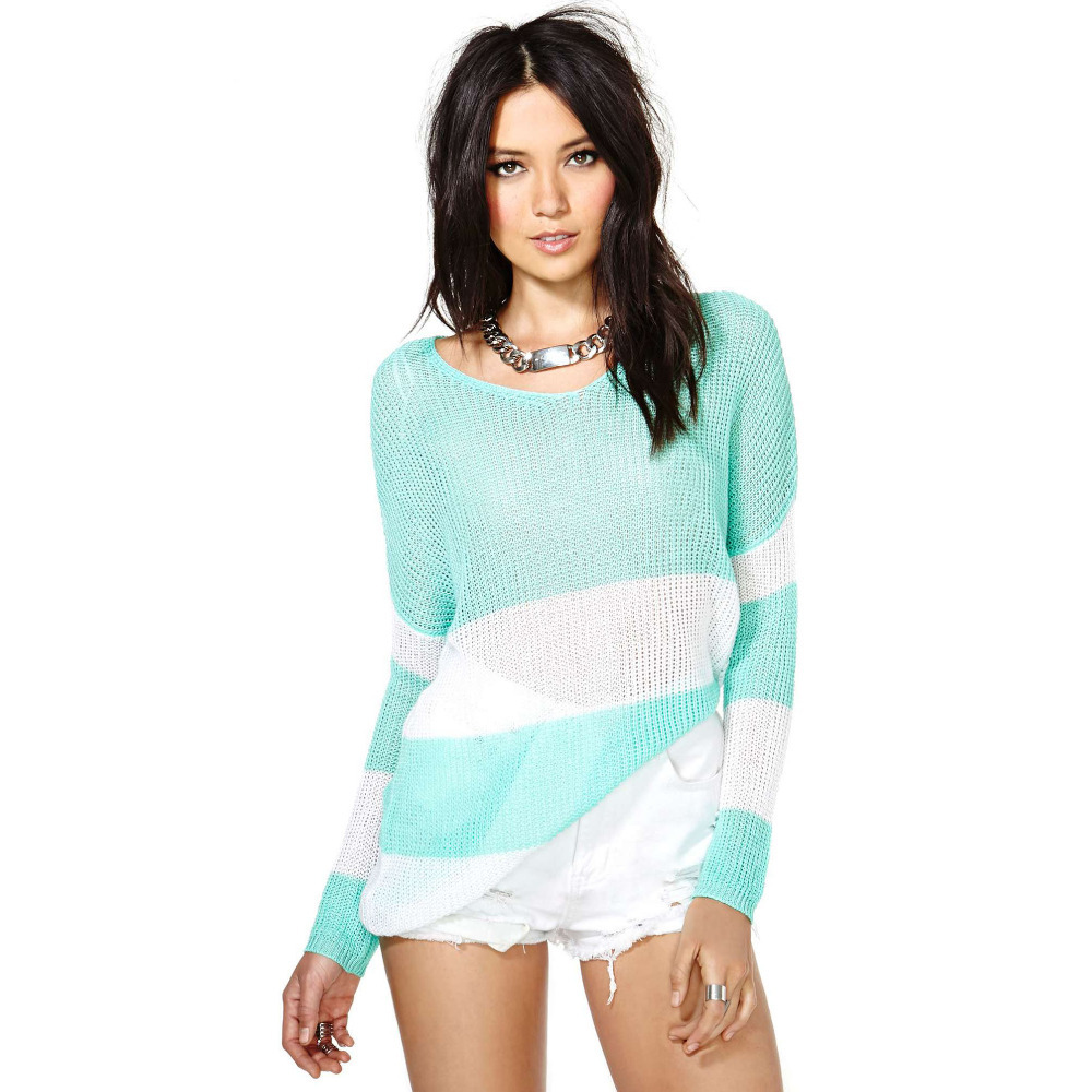 New women 39 s green white stripe splicing round neck for Long sweaters and shirts