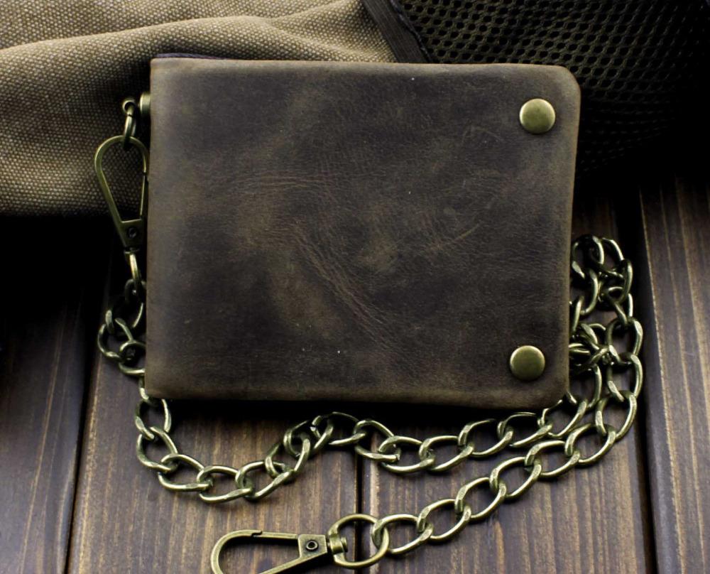 Tow Brass Snap Button Men Biker Rock Case Cilp Wallet With Chain(China (Mainland))