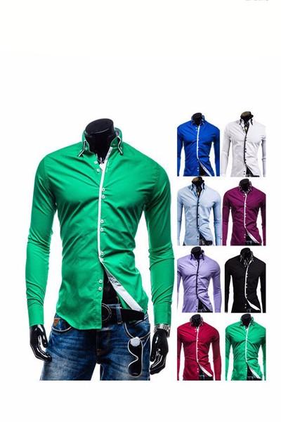 wholesale Men Shirts Slim Unique neckline stylish Dress long Sleeve Mens dress shirts 7 colors size M-XXXL male clothing DL1643