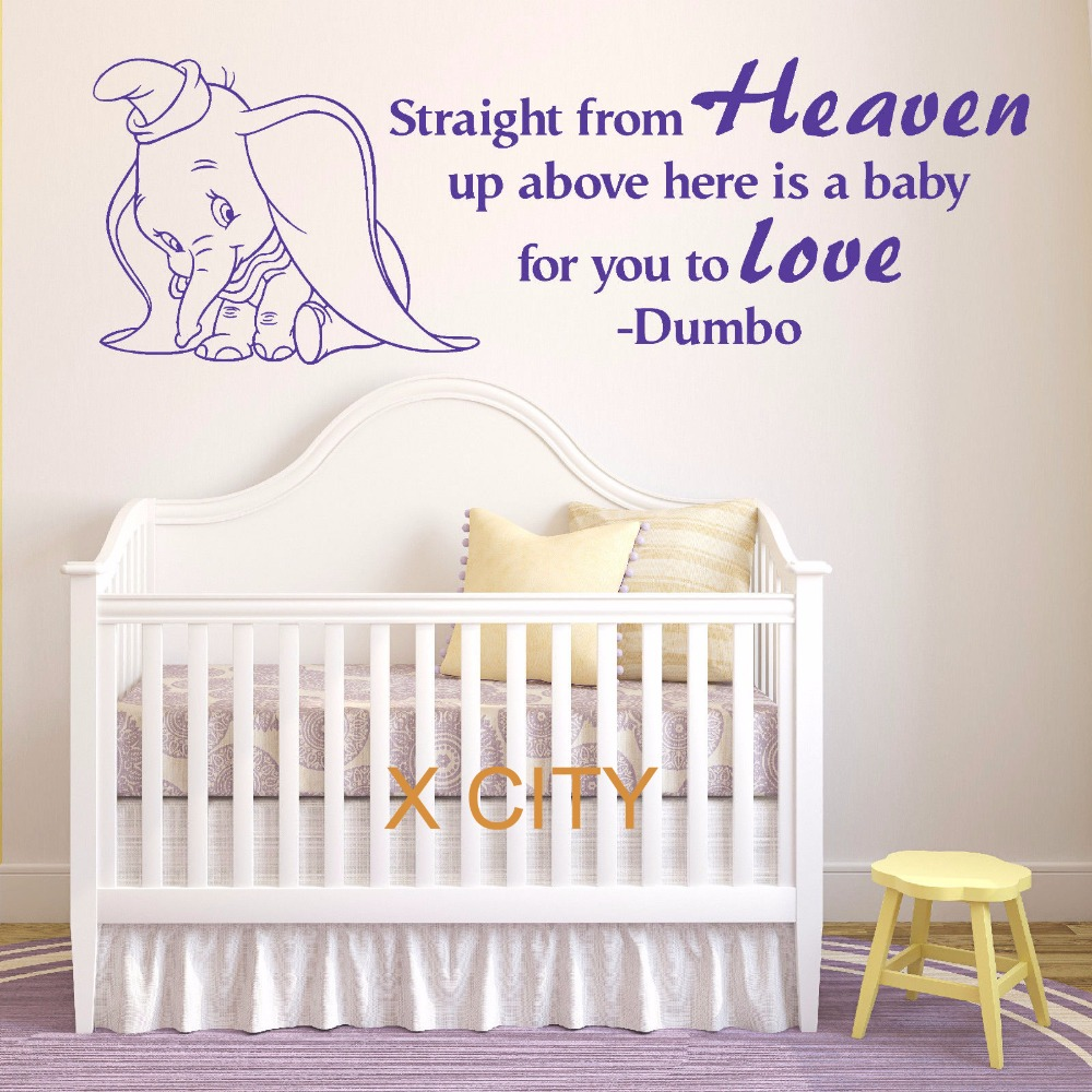 DUMBO THE ELEPHANT Straight From Heaven Vinyl Wall Art Baby Room Sticker Nursery Decal Door Window Stencils Mural Decoration(China (Mainland))