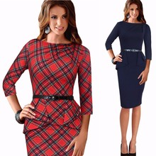 Spring Lady Vintage Tartan Red New Year Fitted Dress O Neck 3/4 Sleeve Belt Peplum Casual Zipper Pencil Dress