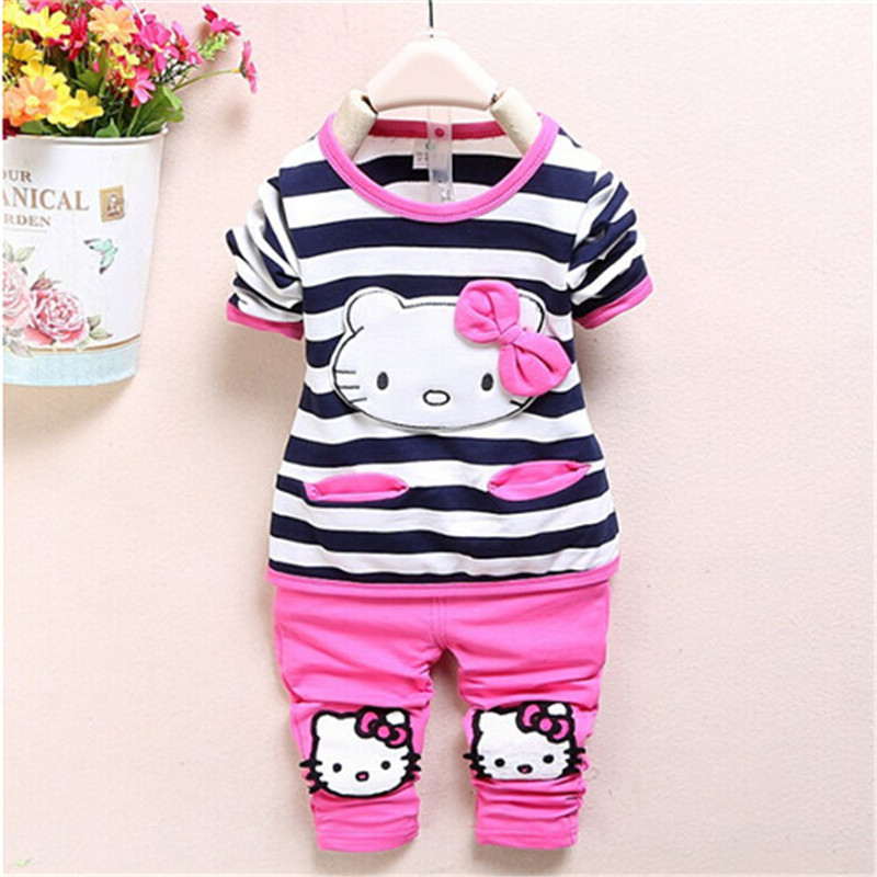 Retail 2012 new baby girls Clothing Sets Fashion spring/Autumn Suit cartoon Baby Girls cute Shirt +Pants - Little Angels children's clothing store
