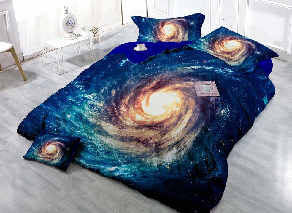 Hot Sale 100% Cotton Bright Nebula Home Textiles 3D Galaxy Bedding Sets(China (Mainland))