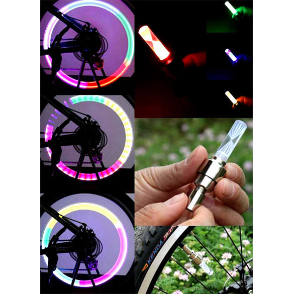 T2N2 New Color Wheel LED Bicycle Safety Light Lightweight Accessory for Tyre Valve(China (Mainland))