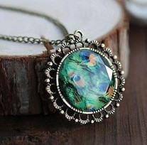 $10 (mix order) Free Shipping 2014 New Fashion Vintage Peacock Feather Gems Retro Circle Necklace N225 Jewelry 14.5g(China (Mainland))