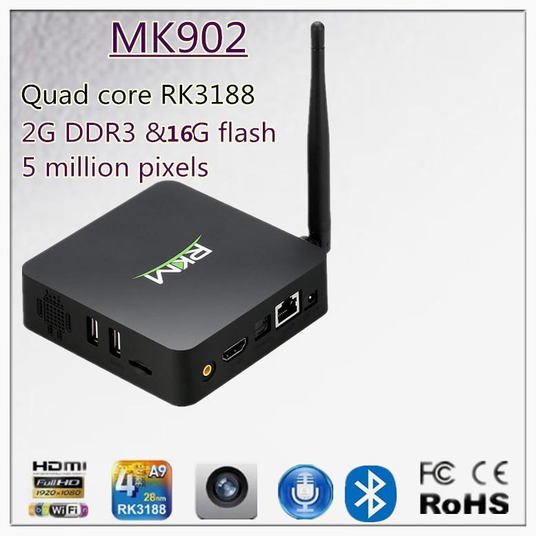 RKM MK902 Quad Core Android 4.2 RK3188 2G DDR3 16G ROM Bluetooth Build in Camera & Microphone Kodi Android TV Box [MK902/16G](China (Mainland))