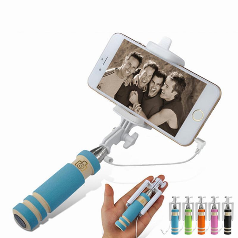 portable Mini folding mobile phone Wired self Selfie Sticks For iphone samsung galaxy Built-in Shutter Camera Monopod Tripod