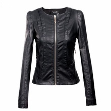 Buy XS min size 3XL Plus Size Stitching PU leather jacket 2017 women's new motorcycle leather jacket Slim short jackets w626 for $24.93 in AliExpress store