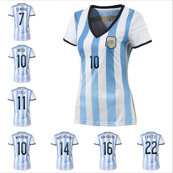 2014 Brazil World Cup soccer jersey top Thai quality Women Argentina, Brazil, Mexico Germany Spain Japan Colombia uniforms shirt(China (Mainland))