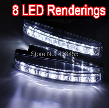 Free Shipping New 2Pcs Universal Car Daytime Running Lights 8 LED DRL Daylight Kit Super White