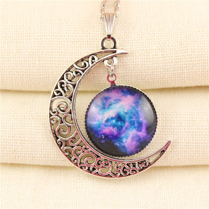 new fashion silver link chain starry sky gem stone moon shape charm pendant necklace for women jewelry(China (Mainland))