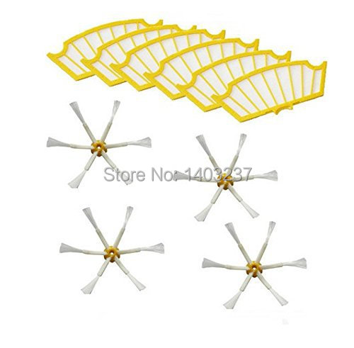 6 Filters + 4 Side Brush 6 Armed for iRobot Roomba 500 Series 530 540 550 560 570 580 610 Vacuum Cleaning Robotic Accessory(China (Mainland))