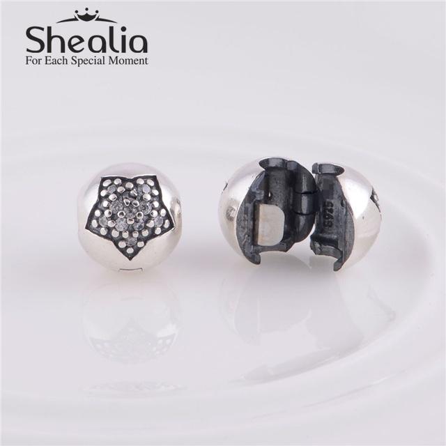 Подлинная стерлингового серебра 925 вымощают CZ звезда мяч клип бусины DIY ремесло ювелирных изделий подходит европейским очаровывает браслеты
