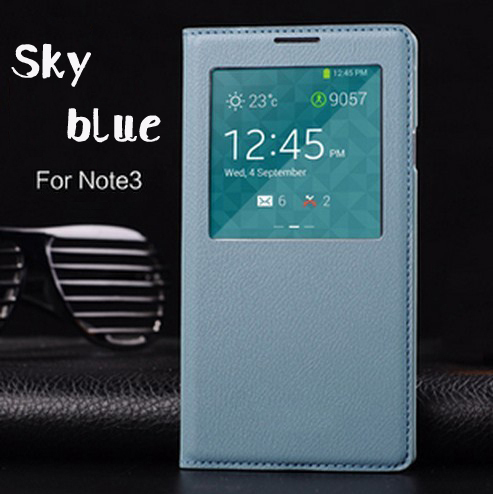 Smart Auto Sleep Wake Function Shell With Chip Original Leather Case Flip Back Cover For Samsung Galaxy Note 3 Note3 N9000 N9005(China (Mainland))