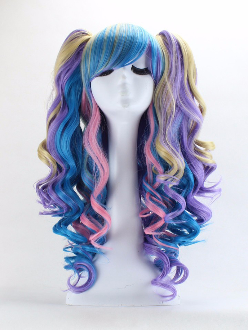 New Synthetic 75cm Wig For Women Lolita Long Multicolor Highlights Curly Tiger clip double horsetail Party Wigs Cosplay Hair<br><br>Aliexpress