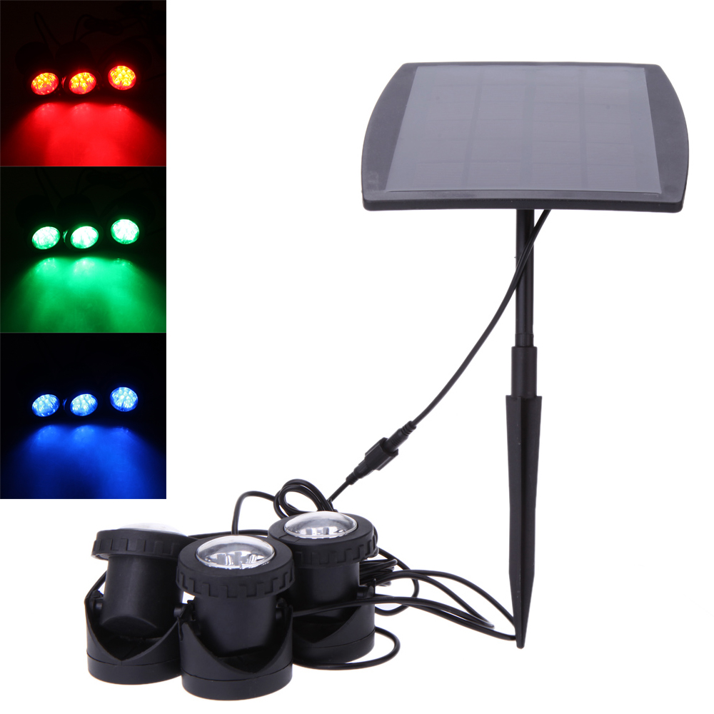 outdoor garden solar powered 3 rgb led spotlight pool pond. Black Bedroom Furniture Sets. Home Design Ideas
