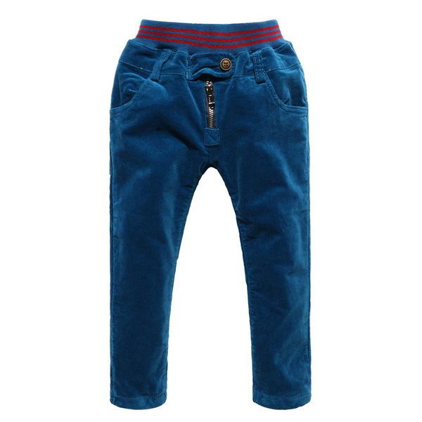 2015 Winter Boy Fashion Warm Trousers Size 70-130 Botton Decoration Elastic Waist Design Children Zipper Casual Thicken Pants(China (Mainland))