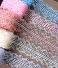 Width 50mm Beautiful 10yards 17colors Embroidered Net Lace Trim fabric Garment ribbon headband wedding party DIY Accessories(China (Mainland))
