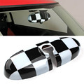 Black Checkered Pattern Car Rear View Mirror Cover For MINI Cooper JCW Countryman R60 R55 R56