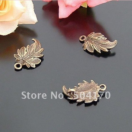 500pcs/lot Wholesale Zakka 19*12mm Maple Leaf Vintage Jewelry Spacers Antique Brass Personality Finding Free Shipping CXY064