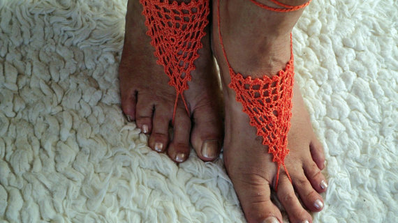 Crochet Barefoot Sandals-Orange-,Anklet,Cuff, Knitted Foot Jewelry,Weddings,Yoga,Thong,Gypsy Sandles(China (Mainland))