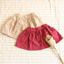 Hu sunshine wholesale new 2016 Girls Pure color buttons  adjustable skirts(China (Mainland))