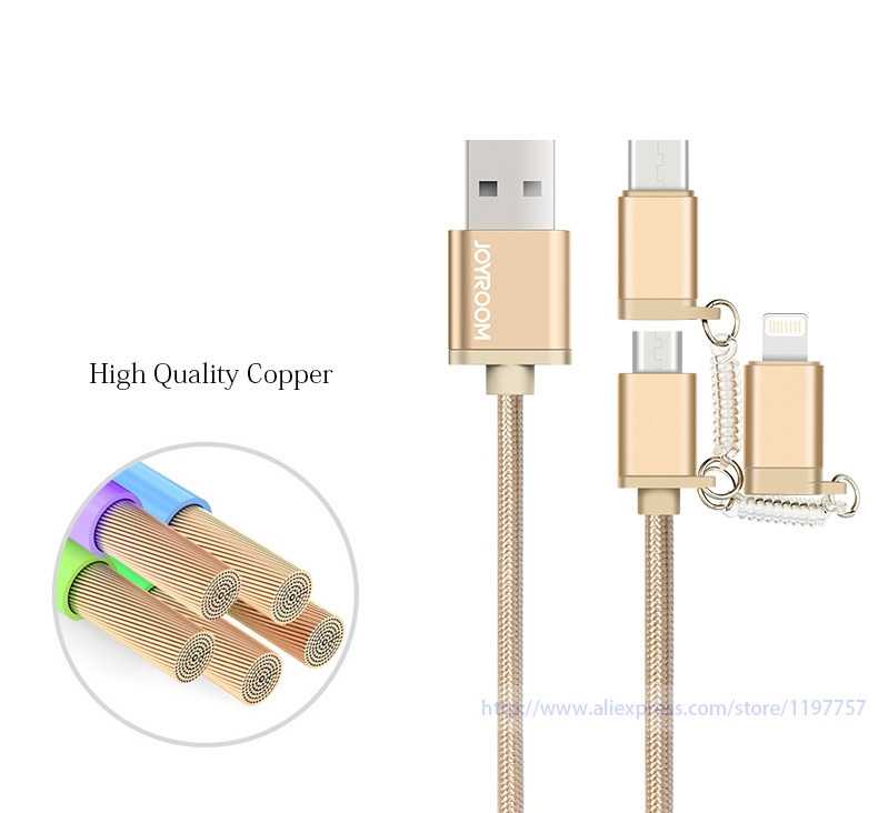 3in1 Cable Micro to Type-c / Lighting for iPhone iPad USB Adaptor Connector Nylon Wire Metal Recycling Box Original Joyroom
