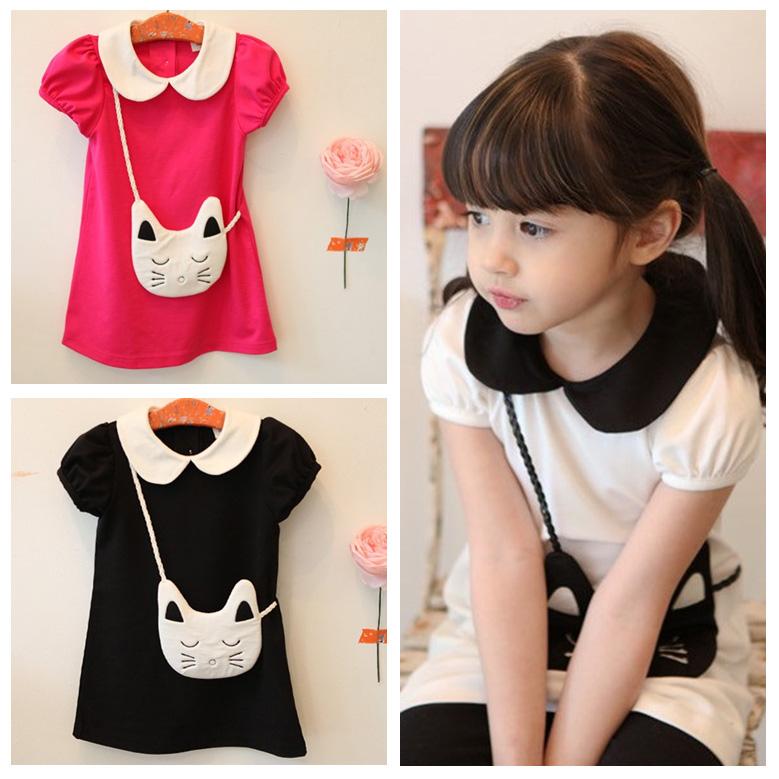 new 2016 summer children's clothing cartoon cat small fresh kid's princess dress children outerwear hot sell(China (Mainland))