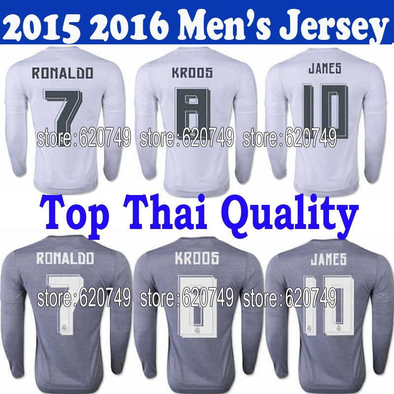 15 16 Real Madrid long sleeve Jerseys ! Best thai quality 2015 2016 BALE JAMES RAMOS Full sleeve soccer jersey Football shirts(China (Mainland))