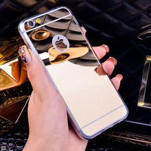 Luxury Mirror Flash Fashion Case For iPhone 7 6 6S Plus 5s 5 SE Soft Clear TPU Cover For iPhone 6 7 6S 5S Gold Phone Bags Cases(China (Mainland))
