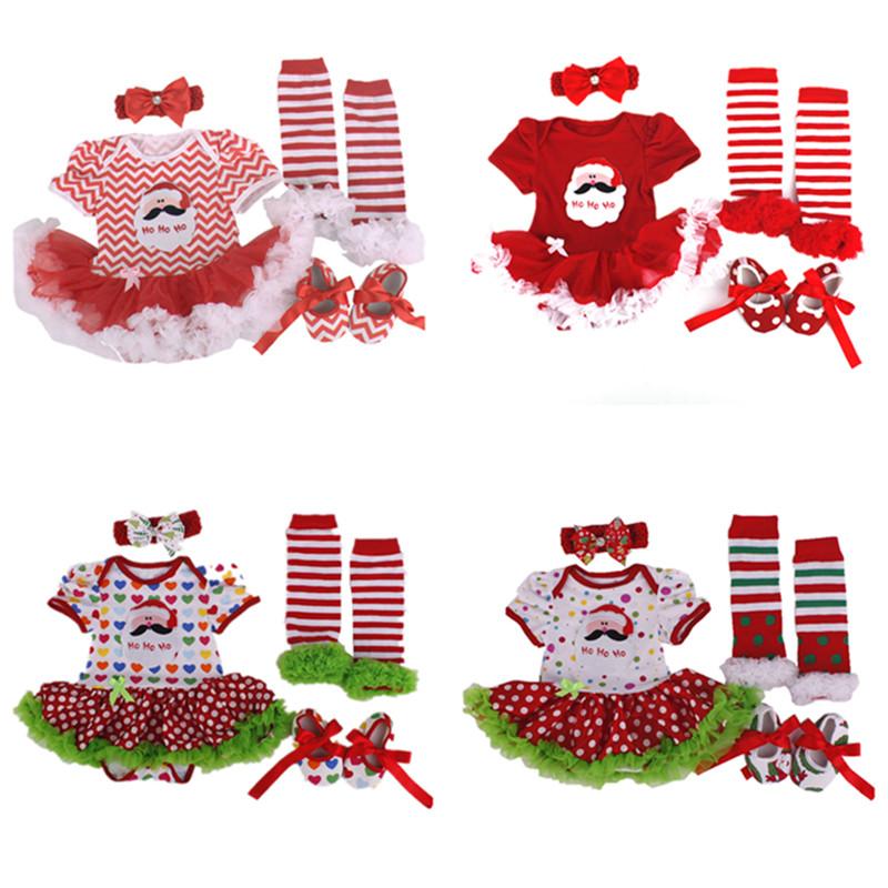 Wholesale Christmas Baby girl clothes Cotton Santa Claus Romper Tutu Dress+Toddler Shoes+Sock+Headband 4pcs/sets Infant clothing(China (Mainland))