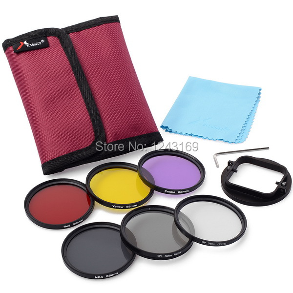58mm Adaptor +6pcs Filters(Red+Yellow+purple+UV+CPL+ND4) for Gopro hero 3 LF365-SZ(China (Mainland))