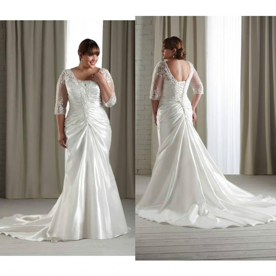 Daw2913 2015 plus size lace appliques backless wedding for Lace sleeve backless wedding dress