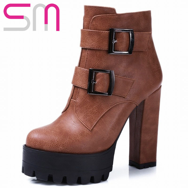 Big Sale High Quality Women's Buckle Ankle Boots 2015 Brand Thick High Heels Platform Boots Keep Warm Winter Boots Shoes Woman