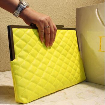 2015 Fashion Women Leather Envelope Bag Clutch Plaid Evening Bag Party Clutches Chain Handbags Crossbody Bag bolsas mujer XA388B