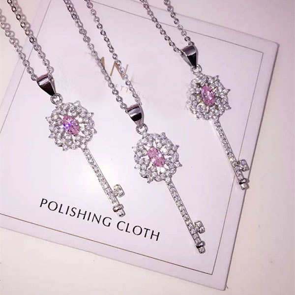 Designer Fashion 925 Sterling Silver Jewelry Platinum Plated 3A Cubic Zirconia Party Key Necklace(China (Mainland))