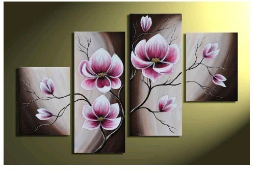 MODERN ABSTRACT HUGE WALL ORNAMENTS OIL PAINTING Flower On Canvas + free gift(China (Mainland))
