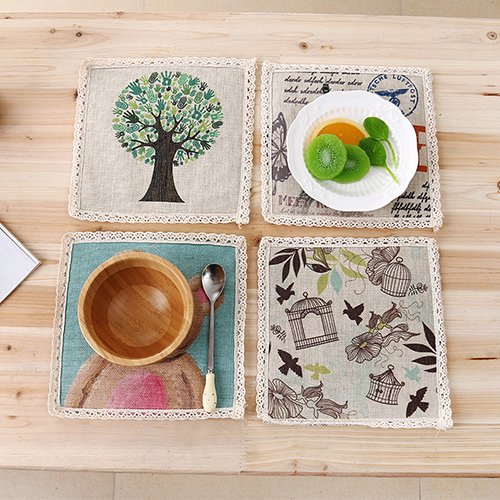 4PCS/LOT Square Placemats Meal Cup Insulation Pad Table decoration accessories Kitchen Dining Bar Tableware Restaurant Catering(China (Mainland))