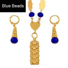 Anniyo Mikronesien Schmuck sets Bunte Stein Halskette Ohrringe Runde Perlen Kette Halsketten Marshall Schmuck Guam #135406(China)