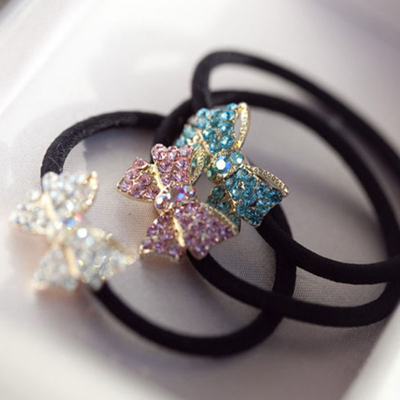 2016 Hot Sale Trendy Cute Lovely Full Crystal Bow Knot Women Hair Clip Hair Rope Hairbands For Woman Gift JF017(China (Mainland))