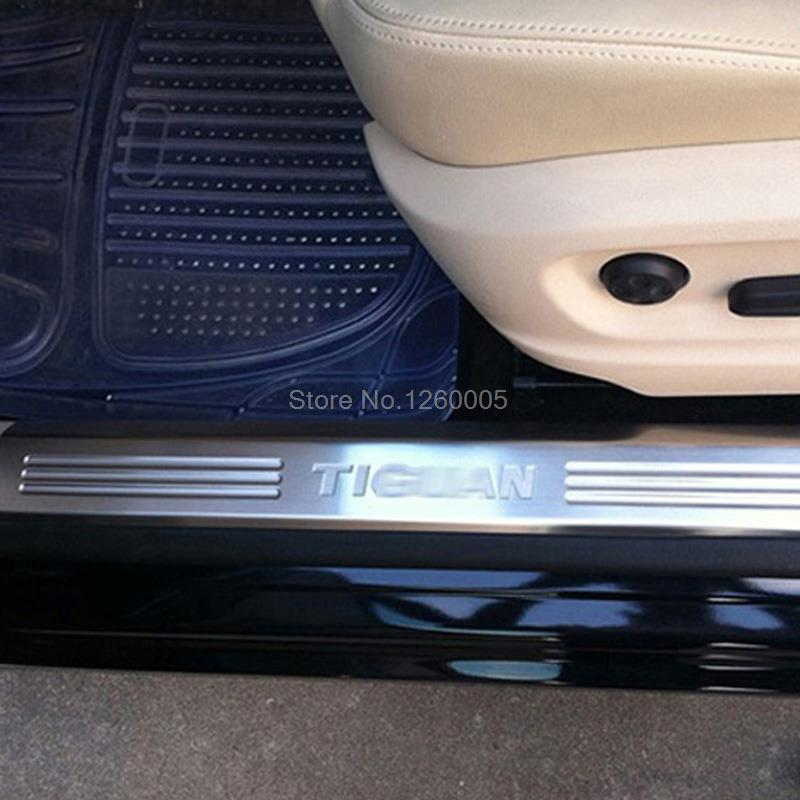 fit for vw volkswagen tiguan 2009 2015 stainless steel door sill scuff plate thresholds pad. Black Bedroom Furniture Sets. Home Design Ideas