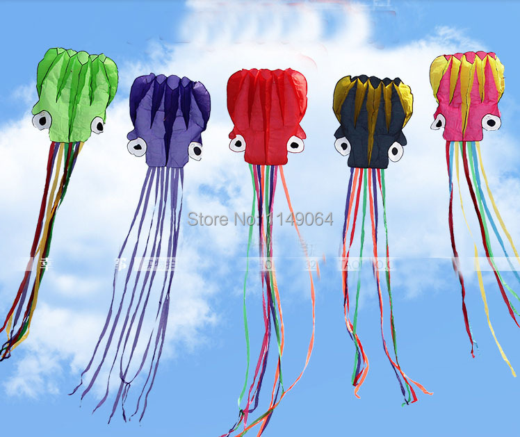 only 9.9$ free shipping high quality 6m soft octopus kite with handle line various colors choose weifang kite big outdoor tartan(China (Mainland))