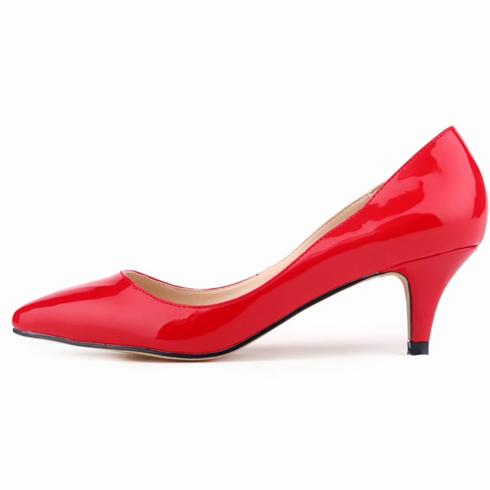 Womens Red Shoes Low Heel - Qu Heel